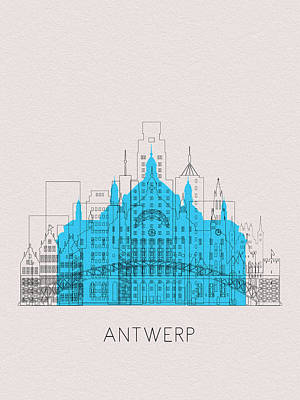 Digital Art - Antwerp Landmarks by Inspirowl Design