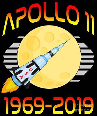 Digital Art - Apollo 11 50th Anniversary Retro Moon Landing by Flippin Sweet Gear
