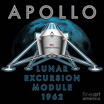 Digital Art - Apollo Lunar Excursion Module 1962 by Dave Ginsberg