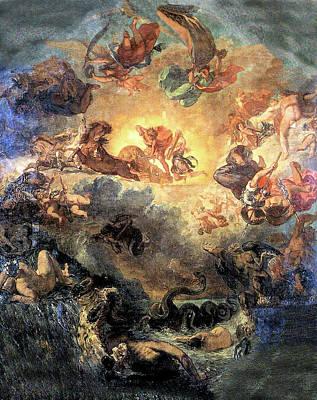 Painting - Apollo Slays Python by Eugene Delacroix