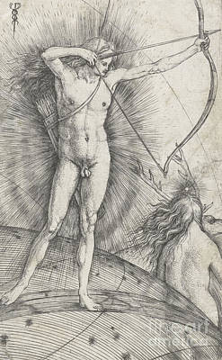 Drawing - Apollo With Bow And Arrow On Celestial Globe And Diana With Deer by Jacopo de Barbari