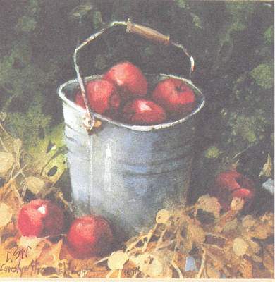 Wall Art - Painting - Apple Bucket by Carolyn Shores Wright