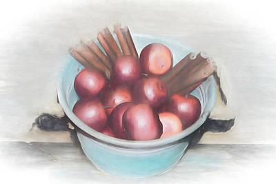 Mixed Media - Apples And Cinnamon Sticks by Pamela Walton