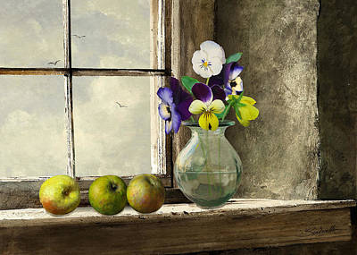 Digital Art - Apples And Pansies by M Spadecaller