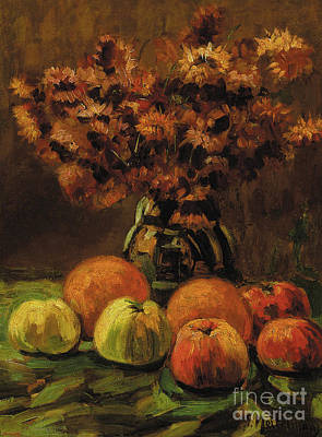 Painting - Apples, Oranges And A Vase Of Flowers On A Table  by Frans Mortelmans