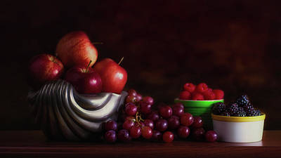 Raspberry Wall Art - Photograph - Apples With Grapes And Berries Still Life by Tom Mc Nemar