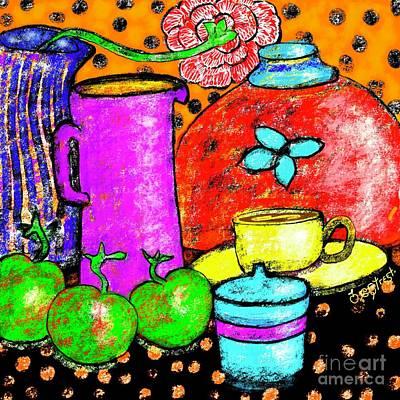Digital Art - Apples With Purple Jug by Caroline Street