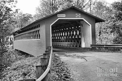 Photograph - Approaching The Bennington Henry Covered Bridge Black And White by Adam Jewell