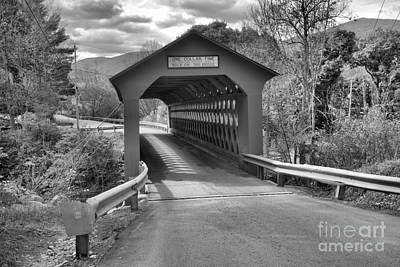 Photograph - Approaching The Chiselville Covered Bridge Black And White by Adam Jewell