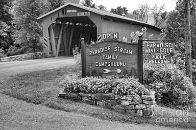 Photograph - Approaching The Cisna Mill Covered Bridge Black And White by Adam Jewell