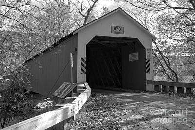 Photograph - Approaching The Eagleville Covered Bridge Black And White by Adam Jewell