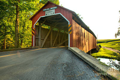 Photograph - Approaching The Enslow Covered Bridge by Adam Jewell