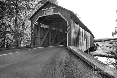 Photograph - Approaching The Enslow Covered Bridge Black And White by Adam Jewell