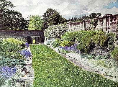Painting - Approaching The Hatley Castle Italian Gardens by David Lloyd Glover