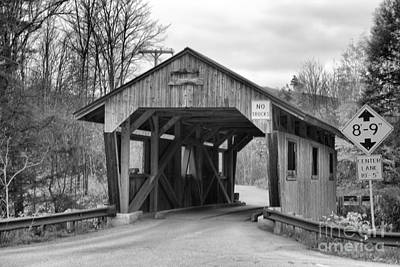 Photograph - Approaching The Power House Covered Bridge Black And White by Adam Jewell