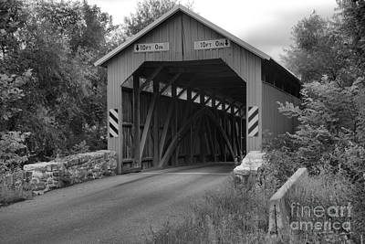 Photograph - Approaching The Saville Covered Bridge Black And White by Adam Jewell