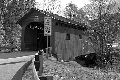 Photograph - Approaching The West Arlington Covere Bridge Black And White by Adam Jewell