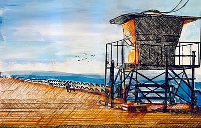 Joan Raspo Wall Art - Mixed Media - Aptos Wharf by Joan Raspo