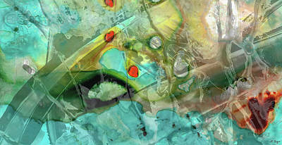Painting - Aqua And Yellow Abstract Art - Juxtaposition - Sharon Cummings by Sharon Cummings