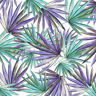 Photograph - Aqua Purple Palm Pattern By Kaye Menner by Kaye Menner