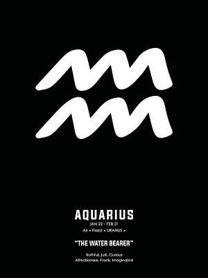 Mixed Media Royalty Free Images - Aquarius Print - Zodiac Signs Print - Zodiac Posters - Aquarius Poster - Black and White 2 Royalty-Free Image by Studio Grafiikka