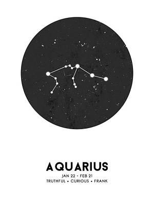 Mixed Media Royalty Free Images - Aquarius Print - Zodiac Signs Print - Zodiac Posters - Aquarius Poster - Night Sky - Stars Royalty-Free Image by Studio Grafiikka