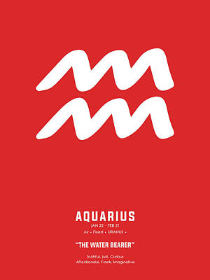 Royalty-Free and Rights-Managed Images - Aquarius Print - Zodiac Signs Print - Zodiac Posters - Aquarius Poster - Red and White by Studio Grafiikka