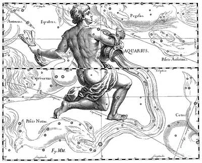 Drawing - Aquarius, The Zodiacal Constellation Of The Water Bearer by Johann Hevelius