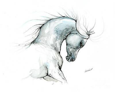 Animals Drawings - Arabian horse head 2019 09 03 by Angel Ciesniarska