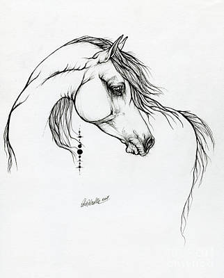 Animals Drawings - Arabian horse ink art 01 10 2019 by Angel Ciesniarska