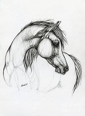 Animals Drawings - Arabian horse ink art 2019 10 18 by Angel Ciesniarska