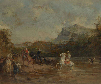 Painting - Arabs Crossing A Ford by Eugene Fromentin