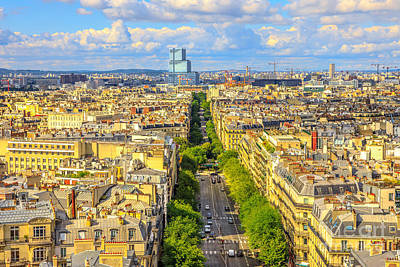 Photograph - Arc De Triomphe Aerial by Benny Marty