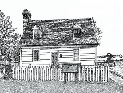 Drawing - Archer House, Yorktown Virginia by Stephany Elsworth