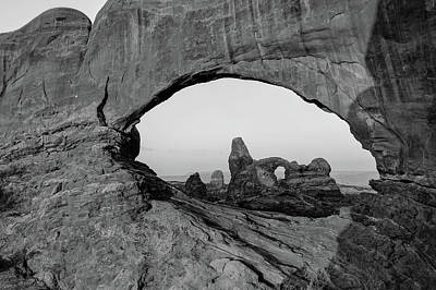Photograph - Arches North Window And Turret Arch - Moab Utah Monochrome by Gregory Ballos