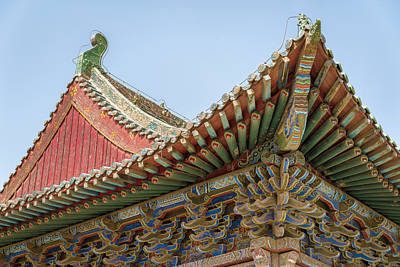 Photograph - Architecture Detail Dafo Temple Zhangye Gansu China by Adam Rainoff