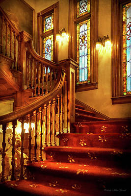 Photograph - Architecture - Stairs - Let's Take A Peek Upstairs by Mike Savad