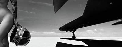 Photograph - Area 71 Post Flight Debriefing Bw by Dario Infini