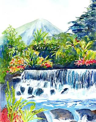 Painting - Arenal Volcano Costa Rica  by CarlinArt Watercolor