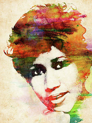 Musicians Royalty Free Images - Aretha Franklin colorful watercolor Royalty-Free Image by Mihaela Pater