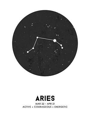 Mixed Media Royalty Free Images - Aries Print - Zodiac Signs Print - Zodiac Posters - Aries Poster - Night Sky - Stars - Aries Traits Royalty-Free Image by Studio Grafiikka