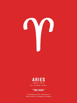 Royalty-Free and Rights-Managed Images - Aries Print - Zodiac Signs Print - Zodiac Posters - Aries Poster - Red and White - Aries Traits by Studio Grafiikka