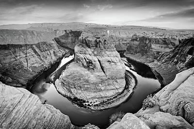 Photograph - Arizona Horseshoe Bend Morning In Monochrome by Gregory Ballos