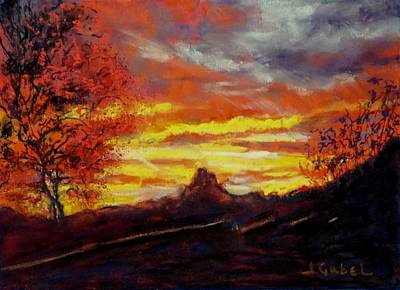 Painting - Arizona Longings Crimson Canyon by Laura Gabel