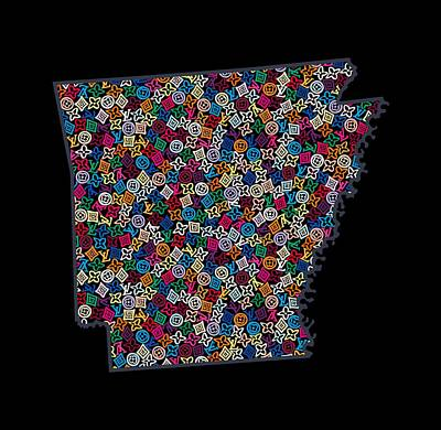 Louis Vuitton Wall Art - Painting - Arkansas Map - 4 by Nikita