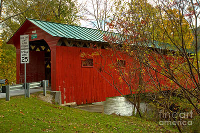 Photograph - Arlington Green Covered Bridge Lush Landscape by Adam Jewell