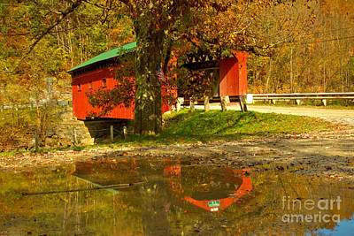 Photograph - Arlington Green Covered Bridge Reflections by Adam Jewell