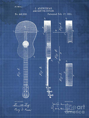 Jazz Drawings Royalty Free Images - ARM REST FOR GUITARS Patent Year 1891 Royalty-Free Image by Drawspots Illustrations