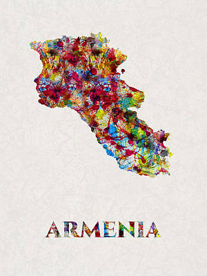 Mixed Media - Armenia Water Color Map, Artist Singh by Artist Singh MAPS