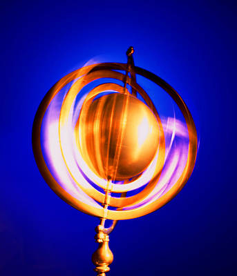 Blue Background Photograph - Armillary Sphere On Blue Background by Nicholas Rigg